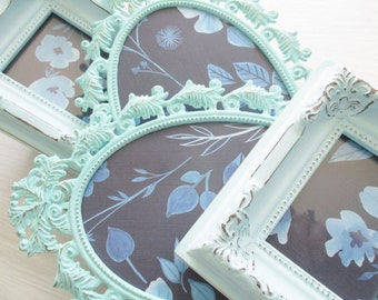 Distressed Picture Frames - Shabby Chic Decor -  Frame Set - Gallery Wall Frame Set - Turquoise Blue - Deep Turquoise Frames - Ornate Frame