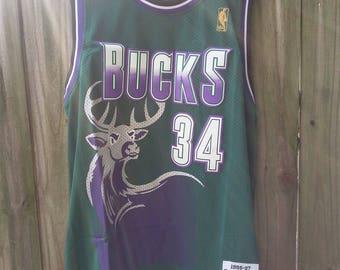 Milwaukee Bucks Retro 90s Jersey Ray Allen Wisconsin Jesus Shuttlesworth NBA Champ
