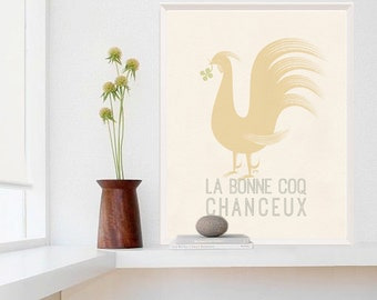Large French Poster, Rooster Art Print, Rooster Kitchen Decor, Kitchen Art