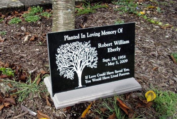 12x8 Tree dedication Black Granite Tile Plaque with custom engraving