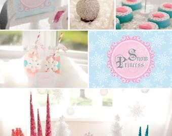 DIY printable birthday party package - snow princess