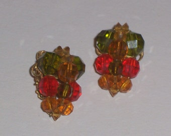 Vintage Glass Bead Earrings with Green Orange and Yellow Clip On Earrings