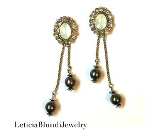 Gray Pearls and Chains Earring