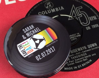 Wedding Vinyl Record Save The Date Magnets Vintage Vinyl Record Design Complete With Organza Bags - Version 3