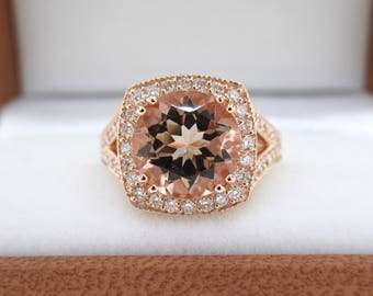 Morganite Engagement Ring, Halo Bridal Ring, Rose Gold Anniversary Ring 3.00 Carat Pave Handmade Certified Huge