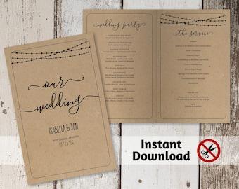 Printable Wedding Program Template - Folded Program - Rustic String, Fairy Lights, Calligraphy - PDF Instant Download Digital File Booklet