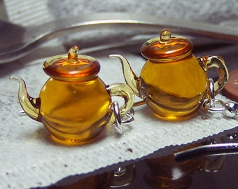 Amber yellow tea tiny teapots glass dangling earrings