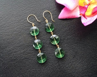Natural Faceted Green Fluorite Triple Coin Linear Gold Filled Earrings