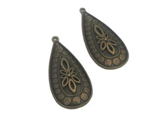 2 Teardrop Pendants | Flower Teardrop | Bronze Teardrop Charm | Large Teardrop | Earring Charm | Ready to Ship from USA | BR394-2