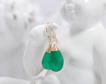 Wire-wrapped Green Onyx Earrings, Gold filled earrings, Emerald Green Jewellery