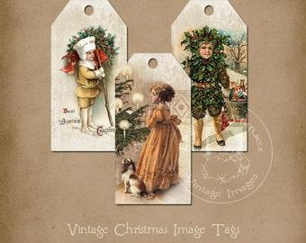 Vintage Christmas Image Tags Printable Instant Digital Download