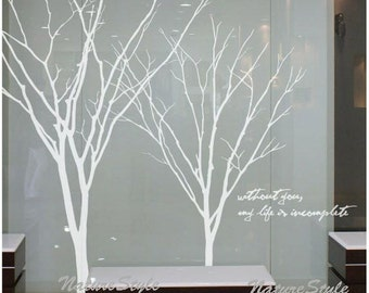 Winter Tree Wall Decal Living Room birds Wall Decor Wall Sticker Wall Graphic Vinyl decalart  nursery mural baby decal-Two Winter Trees