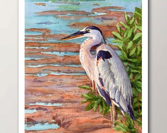 Blue heron print, unframed great blue heron, watercolor bird wall art decor, artwork by Janet Zeh Original Art