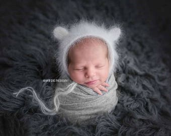 Angora Bear Bonnet - Grey - Teddy Bear Hat - Knit Photo Prop - Newborn Photography Prop - Boy Props