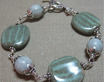 SALE Kazuri Bead Soft Greens Bracelet - B096