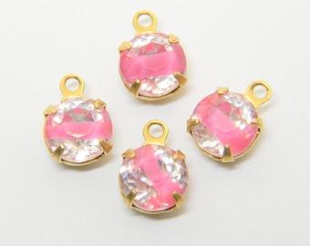 Givre Pink Rhinestone Drops (4) 7mm hand set brass dangles