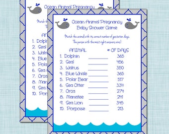 Ocean Animal Pregnancy Baby Shower Game