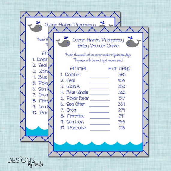 Instant Download Ocean Animal Pregnancy Baby Shower Game
