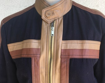Vintage 70s Wool and Leather Cafe Racer Jacket Bomber Jacket by Robert Owens Size 40
