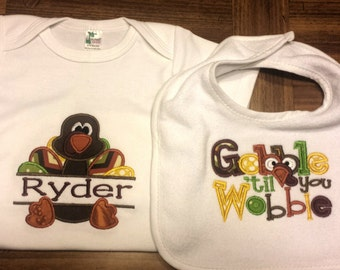 Thanksgiving Turkey Bodysuit - Thanksgiving Baby Clothing