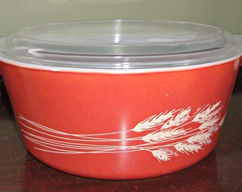 Vintage PYREX Autumn Harvest Rust/Red Covered Casserole