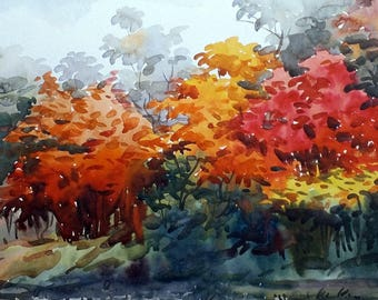 Beauty of Season Forest -Original Hnadpainted Watercolor Painting on Paper