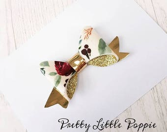 Spring Floral festive pretty gold small beau bow