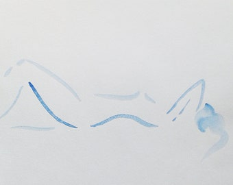 Blue nude watercolor sketch. Woman drawing. Figure art. For bedroom. Simple style.
