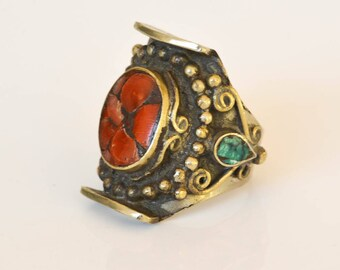 Men's Sterling Ring, Turquoise and Coral Ring, Size 9.5,