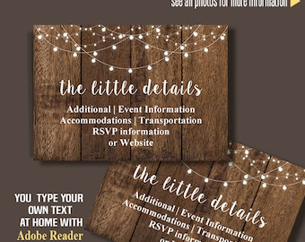 Printable Insert card, Rustic wood RSVP, Information, Details and/or Thank you card, Instant Download, Self Editable PDF file IC105