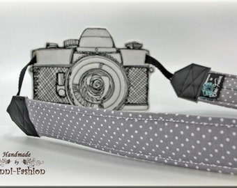 Camera strap, DSLR, gray dots, camerastrap