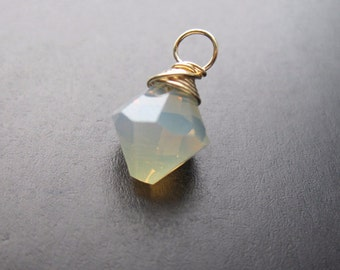 OPAL Swarovski crystal wire wrapped Interchangeable bracelet charm and necklace pendant