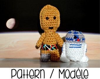Pdf PATTERN : Mini C3PO and R2D2 droids - Star Wars robot crochet amigurumi pattern - Force Awakens star wars crochet pattern