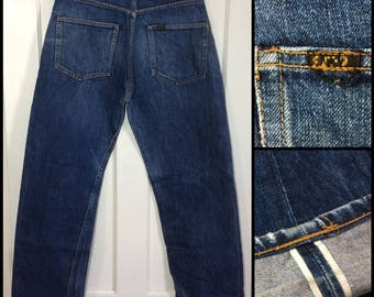 1990's does 1950's dark wash Indigo Blue denim button fly Jeans measures 32x30 redline selvedge 501 style reproduction #300