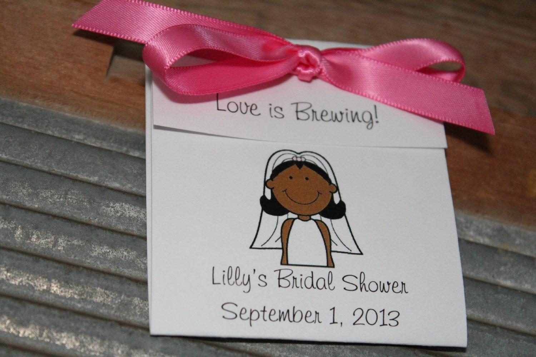 African American Bride Cartoon Personalized Tea Bag Favors