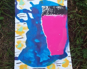 Flow,Mixed Media Index Card Mini Painting
