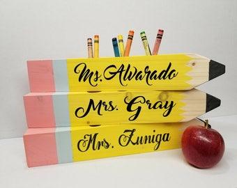 Pencil Wood Sing I Teacher Gift I Teacher Desk I Custom Wood Pencil Holder I First Day Of School I Back to school I Perfect Gift I