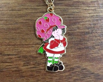 "Brand New Vintage Enamel Strawberry Shortcake Necklace - 16"" Gold Chain - NOS - 1980's"