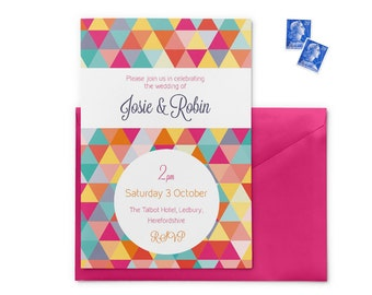 Bright geometric wedding invitation, 5 x 7 in, printed wedding invitation