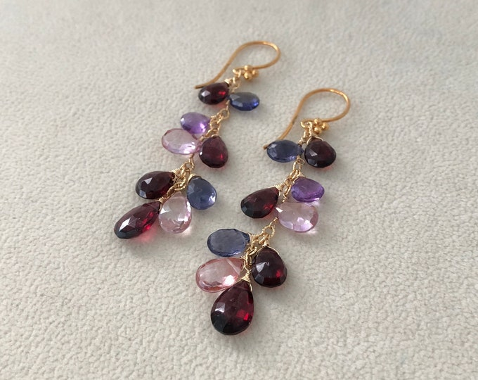 Red Semiprecious Gemstone Earrings in Gold Vermeil and Garnet, Mystic Pink Quartz, Iolite, Rhodolite Garnet