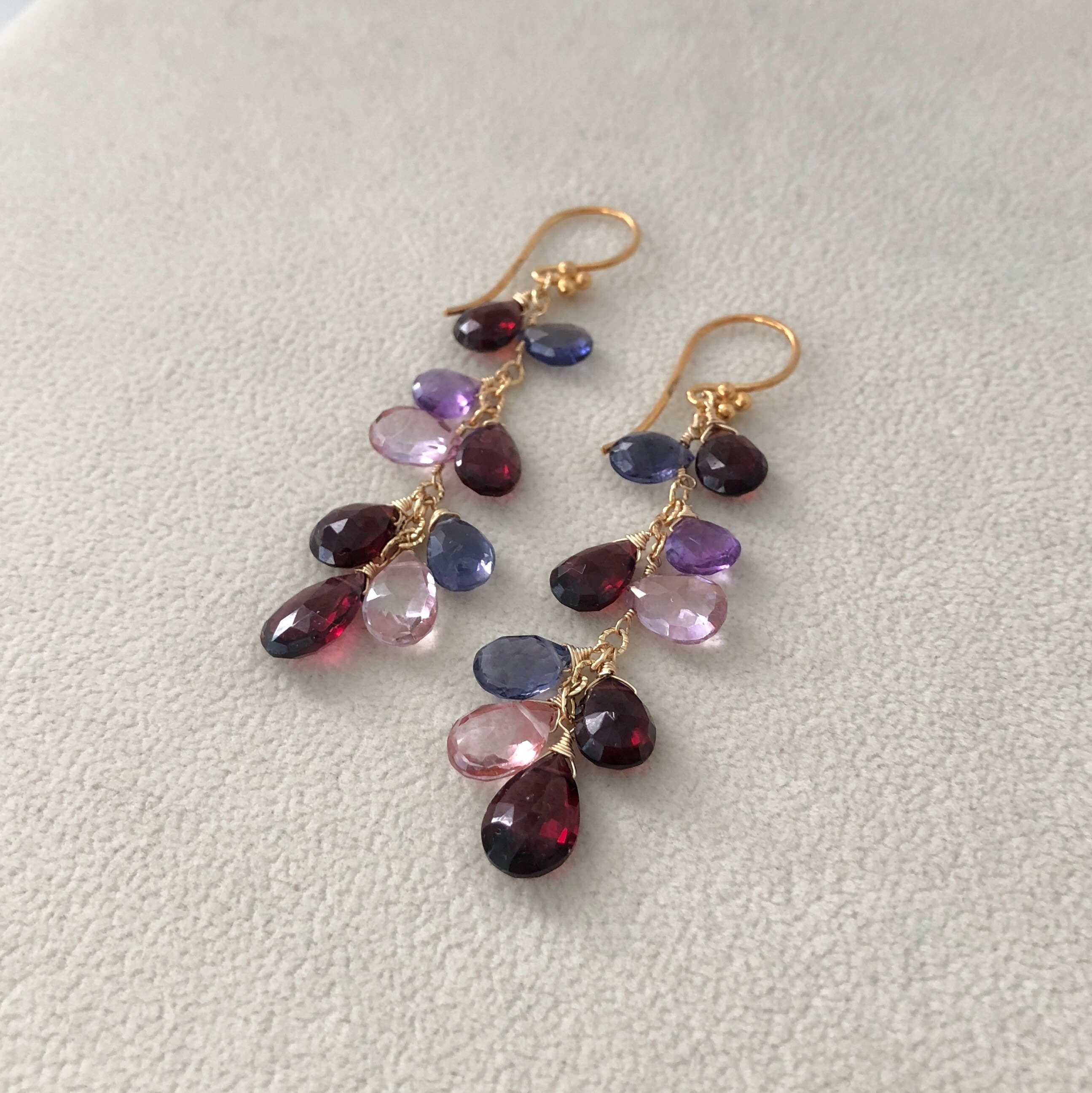 with image rhodolite earrings garnet quench lunar droplet products metalworks