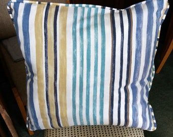 "Blue Small Stripe 22 Inch Square Cushion Cover. ""Shades of Sand and Sea"". Deckchair Cushion, Outdoor Cushion, Summerhouse Cushion"