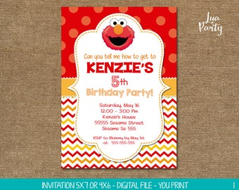 Elmo invitation print yourself, Elmo birthday invitation, Sesame street birthday invitation