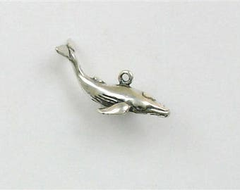 Sterling Silver 3-D Whale Charm