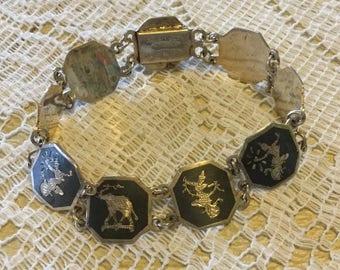 Vintage Asian Sterling Silver/Black Enamel Link Bracelet made in Siam