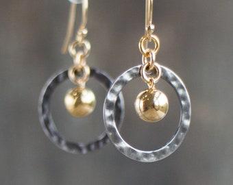 Hoop Earrings, Circle Earrings, Girlfriend Gift for Her, Gold, Silver, Dangle Earrings, Simple Earrings, Gift for Friend, Modern Earrings