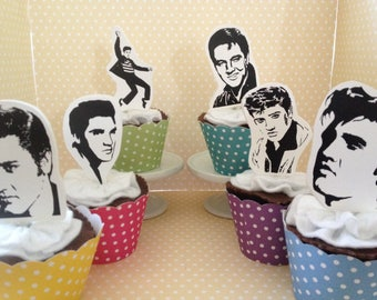 Elvis Presley, King of Rock and Roll Party Cupcake Topper Decorations - Set of 10
