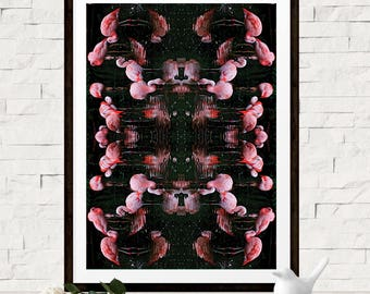 Flamingo Photo Art Print - Kaleidoscope Wall Decor - Pink Wall Art - Abstract Decor - Flamingo Bird Print - Digital Poster - Abstract Art
