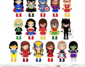 27 superhero girls digital clipart superhero clip art girl rh etsy com girl clipart png girl clipart free