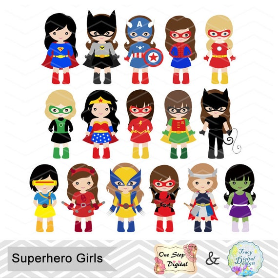 32 Superhero Girls Digital Clipart Superhero Clip Art Girl